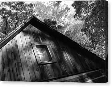 Log Cabin Bw Version Canvas Print by Sheryl Burns