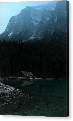 Log Cabin By The Lake Canvas Print by Pierre Leclerc Photography