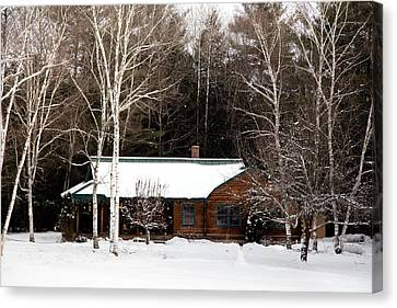 Canvas Print featuring the photograph Log Cabin by Courtney Webster