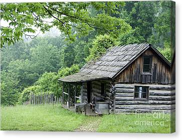 Log Cabin Fort New Salem Canvas Print by Thomas R Fletcher