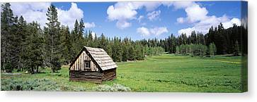 Log Cabin In A Field, Klamath National Canvas Print by Panoramic Images
