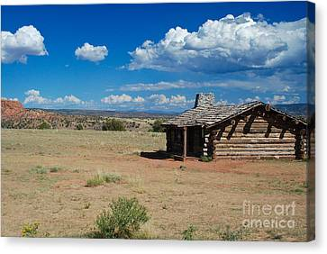 Log Cabin In New Mexico Canvas Print by Sonja Quintero