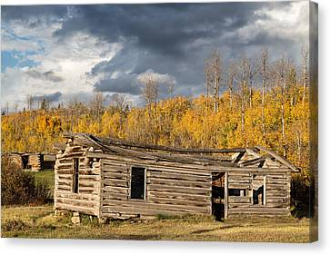 Log Cabin Art Canvas Print - Log Cabin In The Tetons by Kathleen Bishop