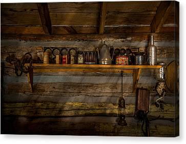 Log Cabin Interiors Canvas Print - Log Cabin Shelf by Paul Freidlund