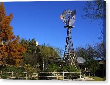 Log Cabins Windmill Canvas Print by Linda Phelps