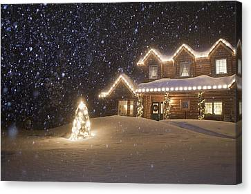 Log Home Decorated With Christmas Canvas Print by Jeff Schultz