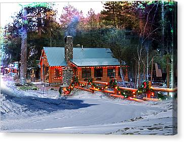 Log Home On Mount Charleston With Christmas Decoration Canvas Print