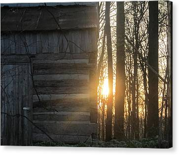 Log House Up Close And Sunset Canvas Print by Tina M Wenger