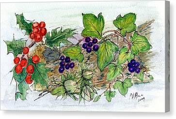 Log Of Ivy, Holly And Hazelnuts  Canvas Print