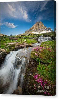 Logan Pass Cascades Canvas Print by Inge Johnsson