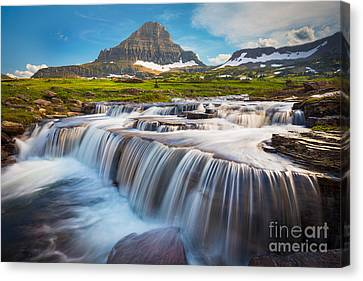 Logan Pass Falls Canvas Print by Inge Johnsson