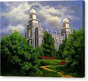 Logan Utah Temple Pathway To Heaven Canvas Print