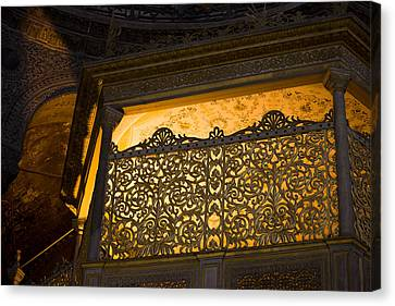 Loge Of The Sultan In Hagia Sophia  Canvas Print by Artur Bogacki