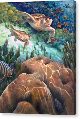Loggerhead Sea Journey I Canvas Print by Nancy Tilles