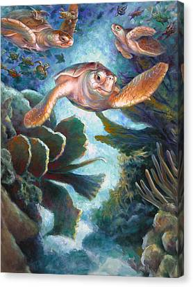 Loggerhead Sea Journey II Canvas Print by Nancy Tilles