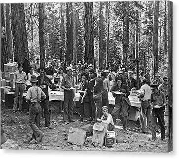 Logging Crew Lunch Canvas Print