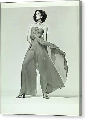 Lois Chiles Wearing A Silk Chiffon Pajama Canvas Print