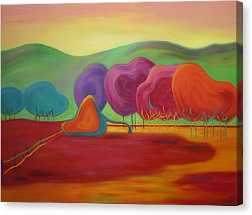 Canvas Print featuring the painting Lollipop Ranch by Nancy Jolley