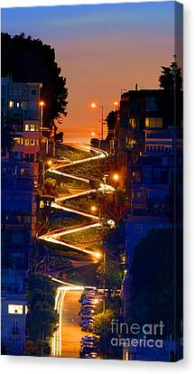 Lombard Street Depth Into The Darkness Of Light Canvas Print by Wernher Krutein
