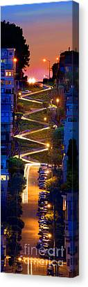 Lombard Street In The Evening San Francisco Canvas Print by Wernher Krutein