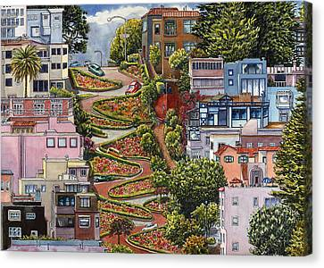 San Francisco Street Canvas Print - Lombard Street by Karen Wright