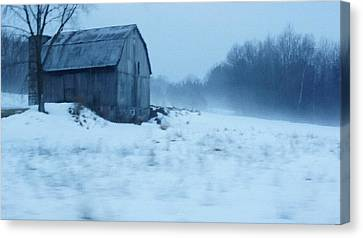 Lomesome Hip Roofed Barn Over Looking The Back Forty Canvas Print by Rosemarie E Seppala