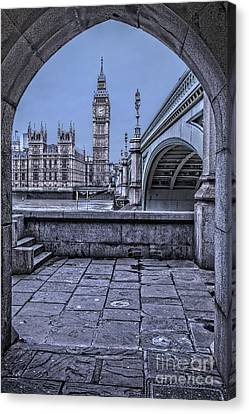 London Big Ben And Westminster Through The Arch Canvas Print by Philip Pound