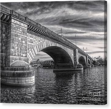 London Bridge In Black And White Canvas Print by Gregory Dyer