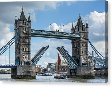 London Bridge Raised For Sailing Barge Canvas Print by Izzy Standbridge