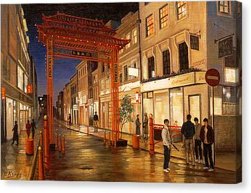 Rainy Day Canvas Print - London Chinatown by Paul Krapf