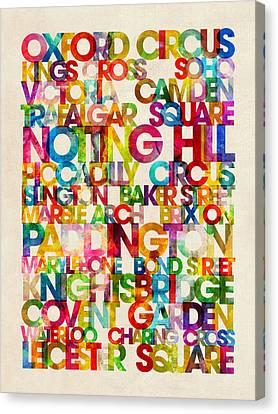 London Destinations Text Map Art Print Canvas Print by Michael Tompsett