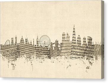 London England Skyline Sheet Music Cityscape Canvas Print by Michael Tompsett