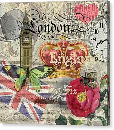 London England Vintage Travel Collage  Canvas Print