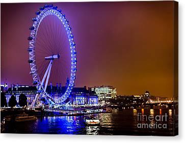 Canvas Print featuring the photograph London Eye Night Glow by Matt Malloy