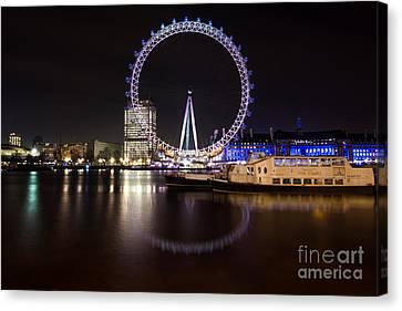 Canvas Print featuring the photograph London Eye Night by Matt Malloy