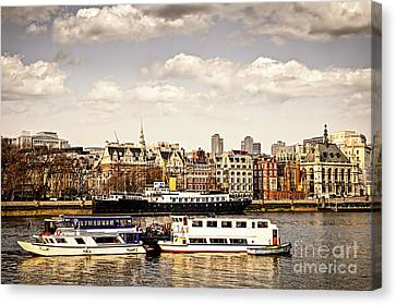 Early Spring Canvas Print - London From Thames River by Elena Elisseeva