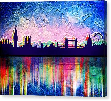 Caricatures Canvas Print - London In Blue  by Mark Ashkenazi