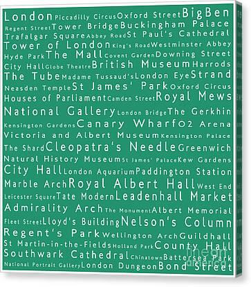 London In Words Algae Canvas Print by Sabine Jacobs