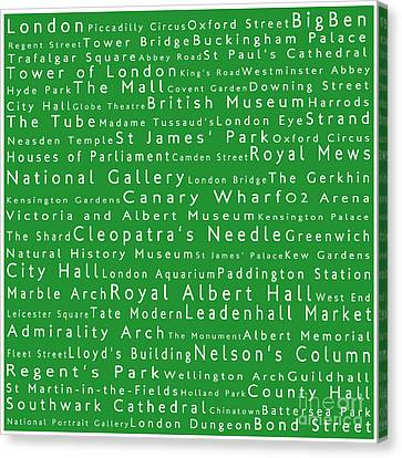 London In Words Green Canvas Print by Sabine Jacobs