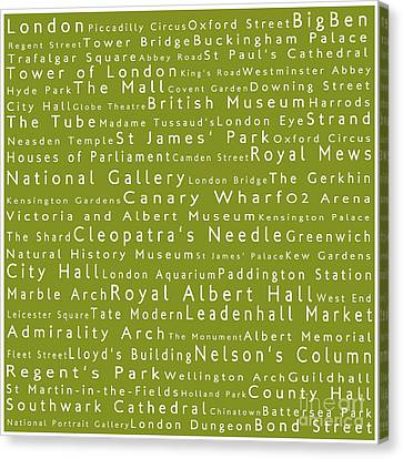 London In Words Olive Canvas Print by Sabine Jacobs