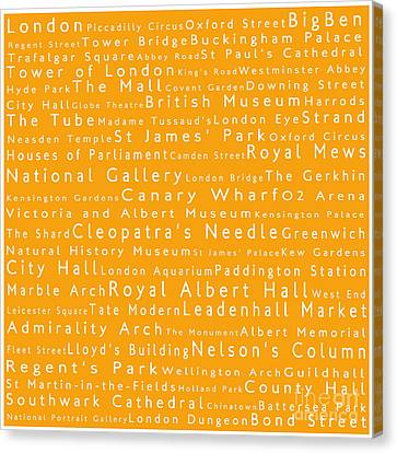 London In Words Orange Canvas Print by Sabine Jacobs