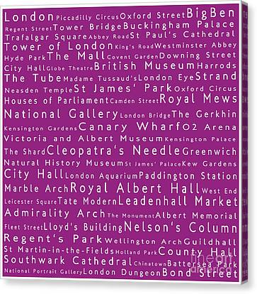 London In Words Pink Canvas Print by Sabine Jacobs