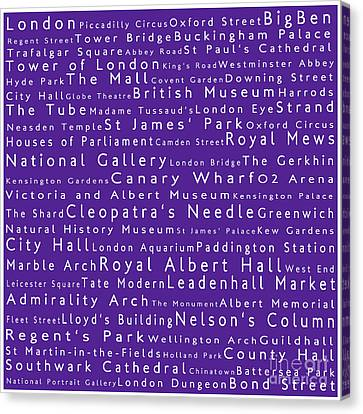 London In Words Purple Canvas Print by Sabine Jacobs