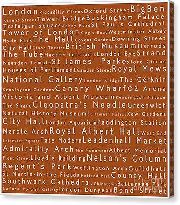 London In Words Toffee Canvas Print by Sabine Jacobs