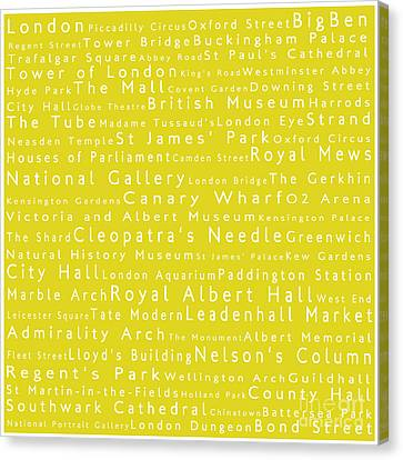London In Words Yellow Canvas Print by Sabine Jacobs