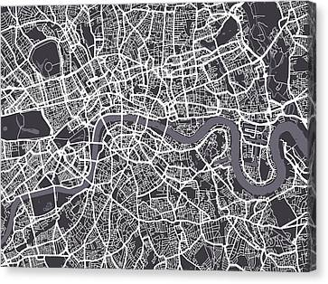 London Map Art Canvas Print by Michael Tompsett