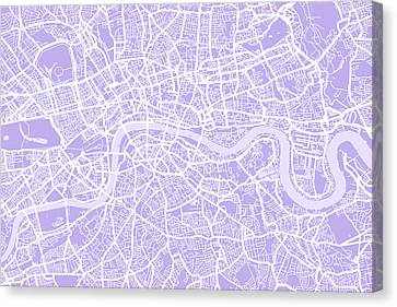 London City Map Canvas Print - London Map Lilac by Michael Tompsett