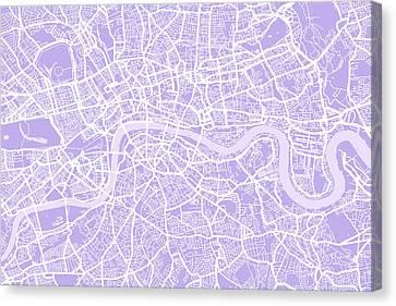 London Map Lilac Canvas Print