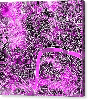 London Map Purple Canvas Print