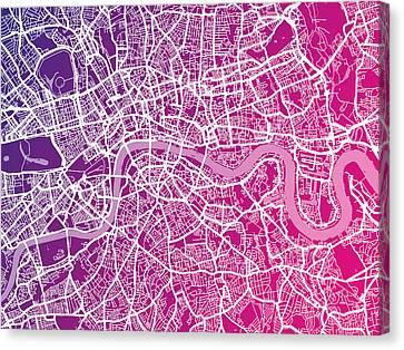 London City Map Canvas Print - London Map Red by Michael Tompsett
